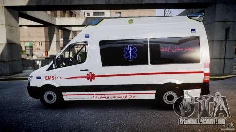 Mercedes-Benz Sprinter Iranian Ambulance [ELS] para GTA 4 esquerda vista