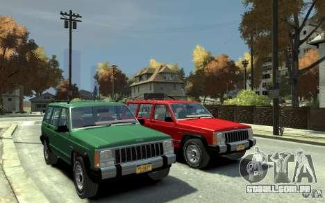Jeep Cherokee 1984 para GTA 4 vista de volta