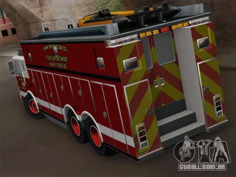 Pierce Walk-in SFFD Heavy Rescue para GTA San Andreas vista direita