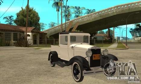 Ford Model A Pickup 1930 para GTA San Andreas vista traseira