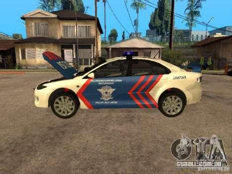Mazda 6 Police Indonesia para GTA San Andreas vista traseira
