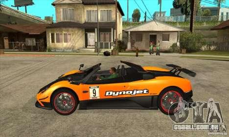 Pagani Zonda Cinque Roadster para GTA San Andreas esquerda vista