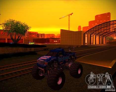 Monster Truck Blue Thunder para GTA San Andreas vista inferior