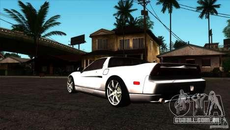 Acura NSX Stock para GTA San Andreas traseira esquerda vista