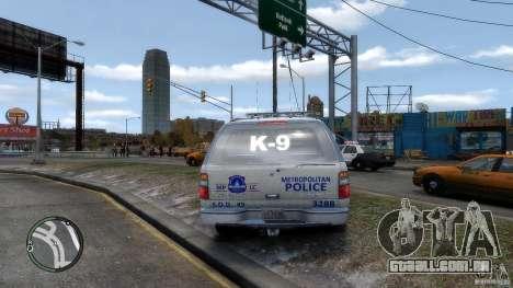 Chevrolet Suburban 2006 Police K9 UNIT para GTA 4 vista direita