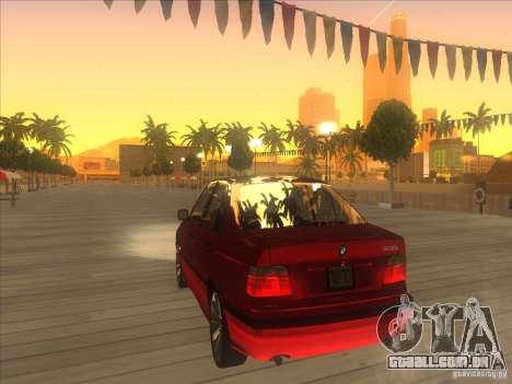BMW E36 para GTA San Andreas traseira esquerda vista