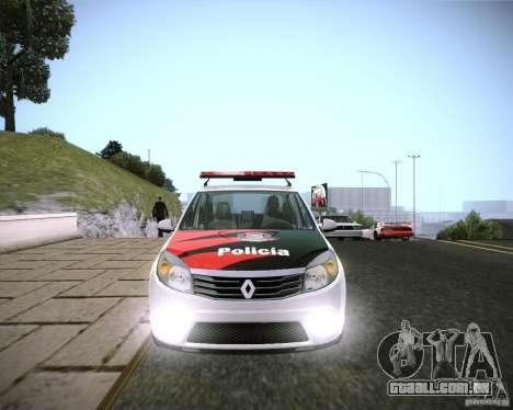 Renault Sandero Policia para GTA San Andreas traseira esquerda vista