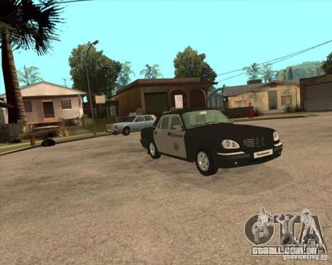 Durante a semana polícia de 3110 Volga GAZ para GTA San Andreas vista direita