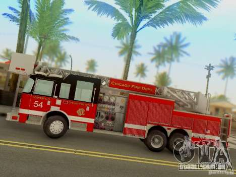Pierce Tower Ladder 54 Chicago Fire Department para GTA San Andreas esquerda vista