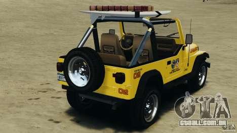 Jeep Wrangler 1988 Beach Patrol v1.1 [ELS] para GTA 4 traseira esquerda vista