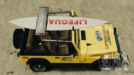 Jeep Wrangler 1988 Beach Patrol v1.1 [ELS] para GTA 4 vista direita