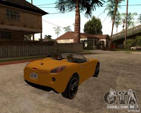 Pontiac Solstice GXP para GTA San Andreas traseira esquerda vista