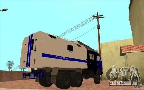 Polícia Kamaz para GTA San Andreas vista traseira