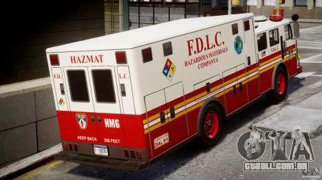 LCFD Hazmat Truck v1.3 para GTA 4 vista direita