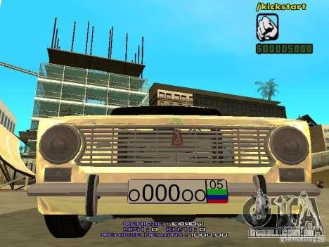 VAZ 2102 ouro para GTA San Andreas vista interior