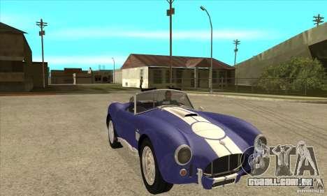 AC Shelby Cobra 427 1965 para GTA San Andreas vista traseira