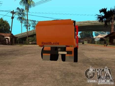 MAZ 54323 CAMINHÃO DE LIXO para GTA San Andreas vista traseira