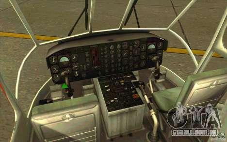 Sikorsky Air-Crane S-64E para GTA San Andreas vista interior