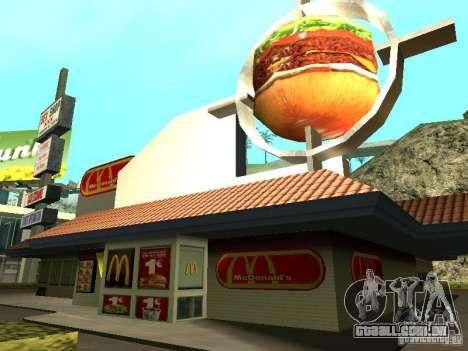 Mc Donalds para GTA San Andreas nono tela