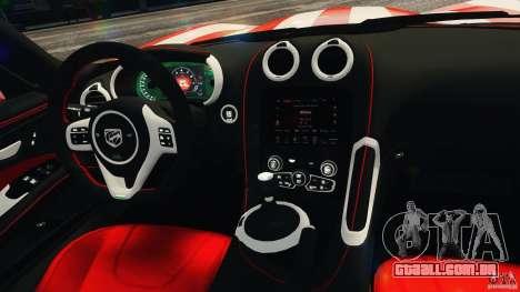 Dodge Viper GTS 2013 para GTA 4 vista superior