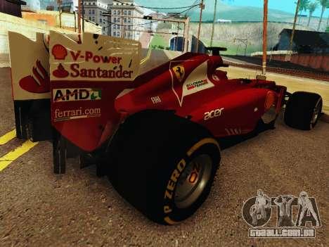 Ferrari F2012 para GTA San Andreas vista direita