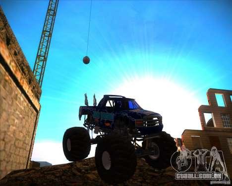Monster Truck Blue Thunder para GTA San Andreas vista traseira