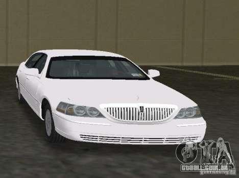 Lincoln Town Car para GTA Vice City vista traseira esquerda