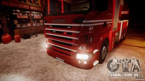 Scania Fire Ladder v1.1 Emerglights red [ELS] para GTA 4 vista superior