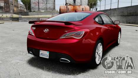 Hyundai Genesis Coupe 2013 para GTA 4 traseira esquerda vista