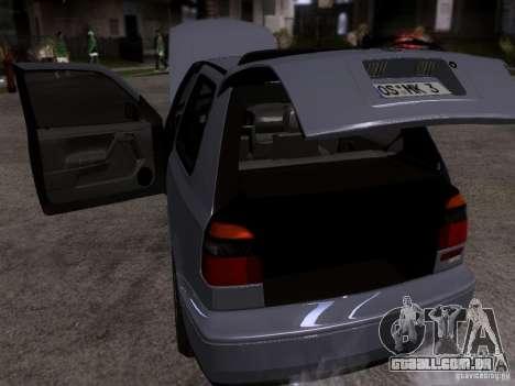 Volkswagen Golf 3 VR6 para GTA San Andreas vista interior