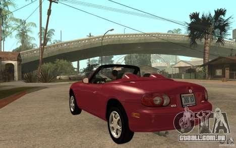 Mazda MX5 - Stock para GTA San Andreas traseira esquerda vista
