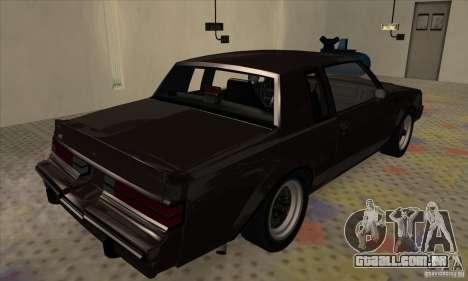 Buick Regal GNX 1987 para GTA San Andreas traseira esquerda vista
