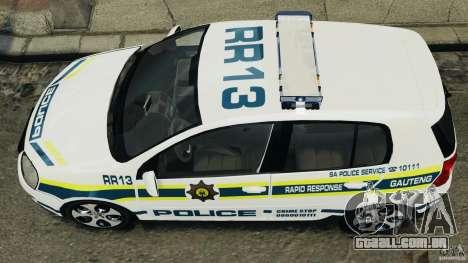 Volkswagen Golf 5 GTI South African Police [ELS] para GTA 4 traseira esquerda vista