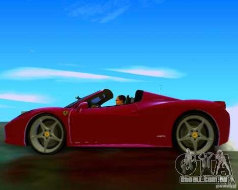 Ferrari 458 Spider para GTA San Andreas vista interior