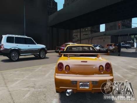 Nissan Skyline GT-R R34 Fast and Furious 4 para GTA 4 vista direita