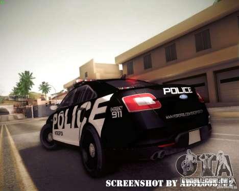 Ford Taurus Police Interceptor 2011 para GTA San Andreas vista traseira