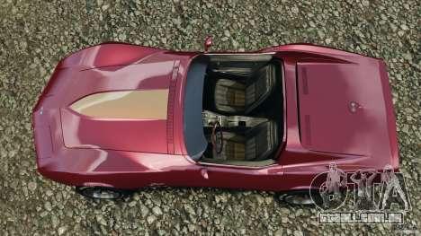 Chevrolet Corvette Sting Ray 1970 Custom para GTA 4 vista direita