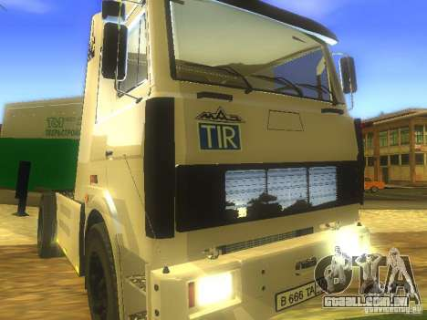 MAZ 5432 Turbo para GTA San Andreas vista interior