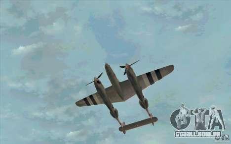 P38 Lightning para GTA San Andreas vista interior