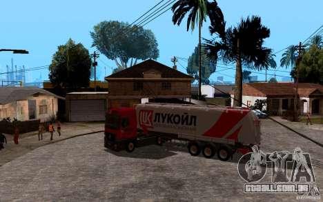 Reboque da Lukoil para Mercedes-Benz Actros para GTA San Andreas vista traseira