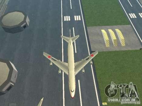 Boeing 747-100 Japan Airlines para GTA San Andreas vista interior