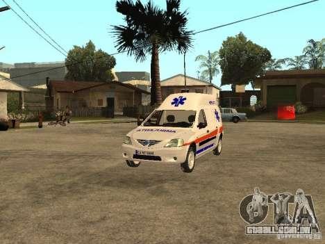 Dacia Logan Ambulanta para vista lateral GTA San Andreas