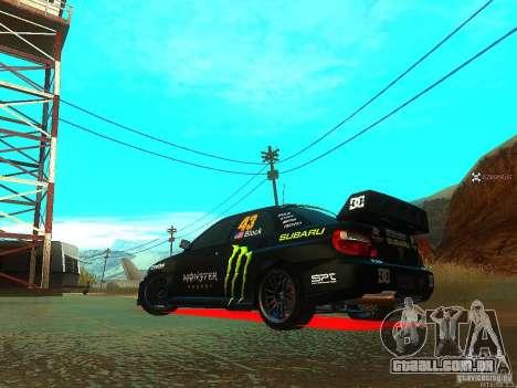 Subaru Impreza Gymkhana Practice para GTA San Andreas traseira esquerda vista