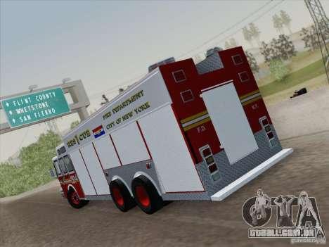 E-One F.D.N.Y Fire Rescue 1 para GTA San Andreas traseira esquerda vista