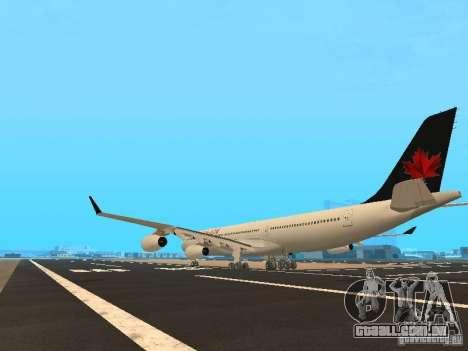 Airbus A340-300 Air Canada para GTA San Andreas traseira esquerda vista