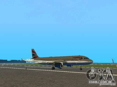 Airbus A320 British Airways para GTA San Andreas esquerda vista