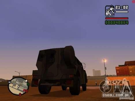 Australian Bushmaster para GTA San Andreas traseira esquerda vista