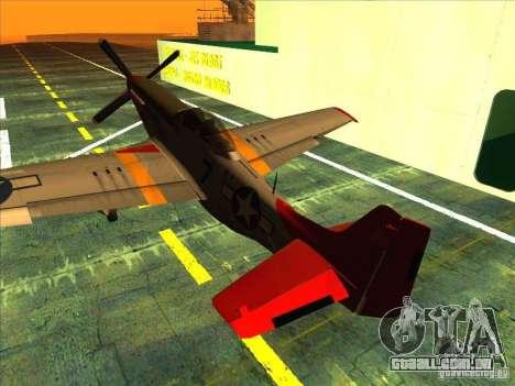 P51D Mustang Red Tails para GTA San Andreas vista direita