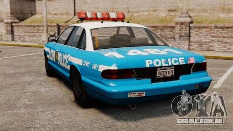 Vapid Police Cruiser ELS para GTA 4 traseira esquerda vista
