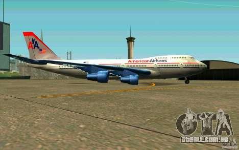 B-747 American Airlines Skin para GTA San Andreas traseira esquerda vista